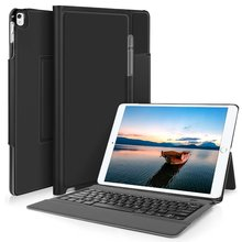 Lightweight Stand Portfolio Case with Bluetooth Keyboard cover + Pencil holder for Apple ipad pro 12.9 2017. (Black)