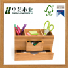 Wholesale wood craft FSC handmade unfinished bamboo pen holder bamboo desktop box