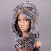 China Factory Wholesale Kintted Rabbit Fur Hat Shawl Cap for Girls
