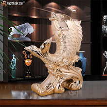 Hotal lobby coffee bar ,China fengshui rose gold resin fish sculpture high-end shape figurine indoor doing room for sale