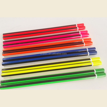 Neon pencils with stirpe and dip end, Lead pencils