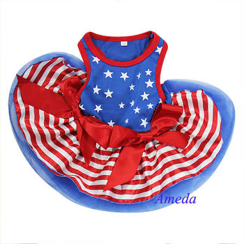 4th July Patriotic Blue Star Red Stripes Small Dog Pet Tutu Clothes Party dress XS-L