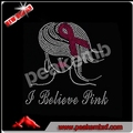 Pink Ribbon & Afro Lady hope breast cancer iron on Rhinestone transfer