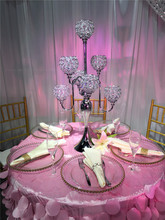 Wedding cheap decorative silver and crystal beads candelabras for wedding