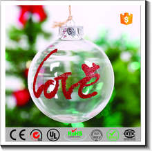 Customized christmas tree hanging ornament clear glass ball