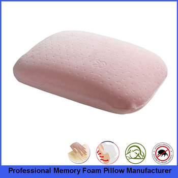 Multi-function Small Memory Foam Pillow With Breathable Cotton Velour In Pink Color
