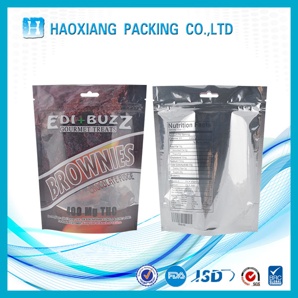 Biodegradable plastic cake packing bag with zipper food plastic bag