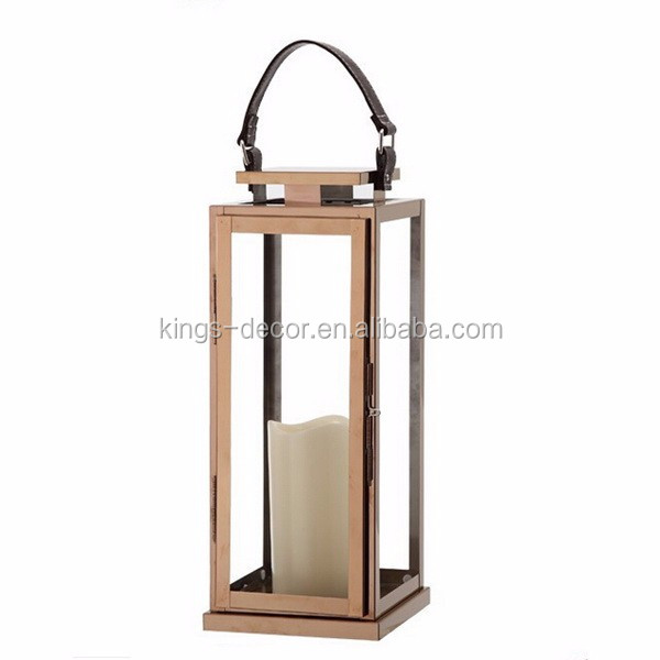 Square shape hanging copper stainless steel lantern with leather handle
