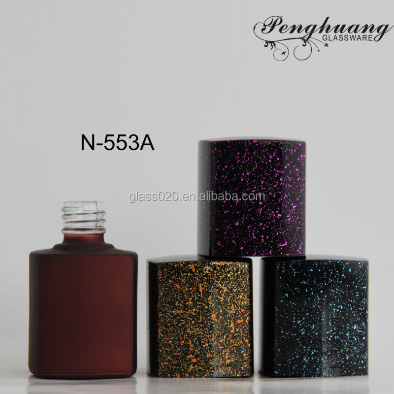 wine red color square glass gel polish bottles 15ml