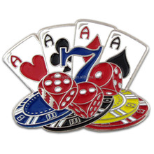 Playing Cards, Dice and Poker Chips Lapel Pin 1""