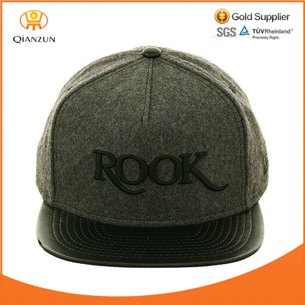 wool crown leather flat brim 3D embroidery snapback hats with leather back closure