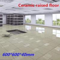 Ceramic raised floor tiles with date center room