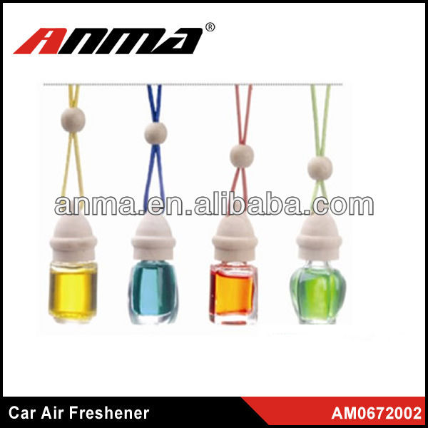 Mini glass car air freshener hanging perfume bottle / car hanging air freshener / liquid car air freshener