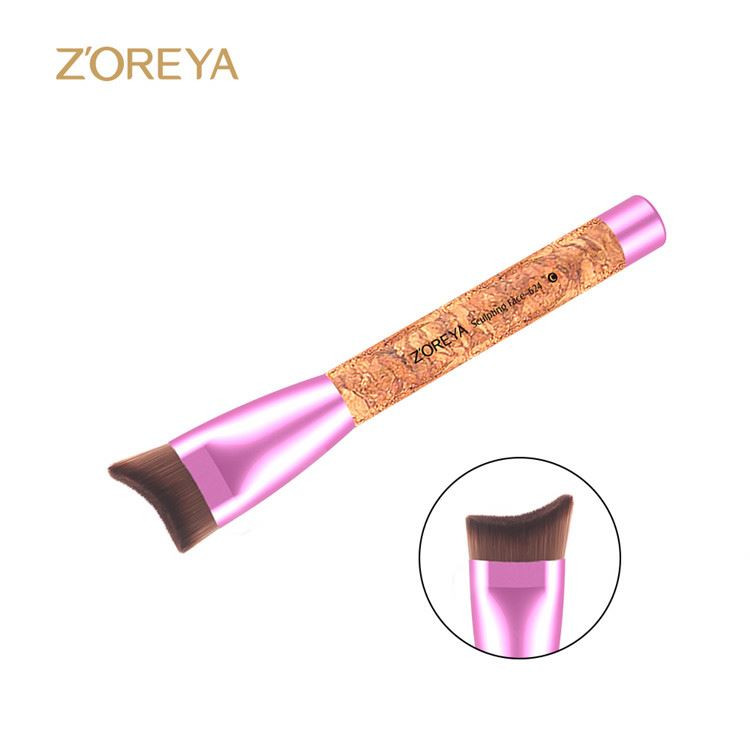 New arrival custom design free samples cork handle purple color makeup brush set
