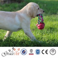 [Grace Pet] Solid Rubber Ball on dog rope toy for Interactive Games
