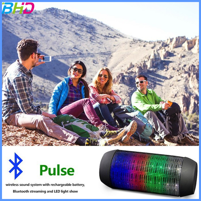2016 hot Portable Wireless Bluetooth Speaker With led light clear loud sound pulse out door music waterproof speaker bluetooth