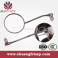 FLYQUICK motorcycle chrome side mirror strong convex mirror with iron material