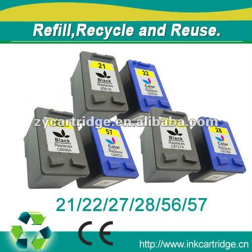compatible inkjet ink cartridge 21,22,56,57,27,28 suitable for HP printers