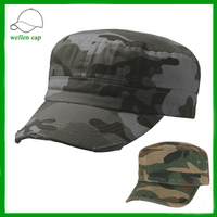 cheap curve brim camouflage adjustable men's custom flat top military officer cap