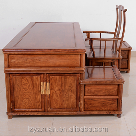 Rare And Luxury African Rosewood Made Furniture Wood Hand Carved Work Or Office Table/Writing Desk Set With Chairs