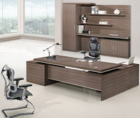 Big manager boss executive table with side desk