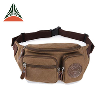 Khaki Canvas Military Sport Waist Bag For Men