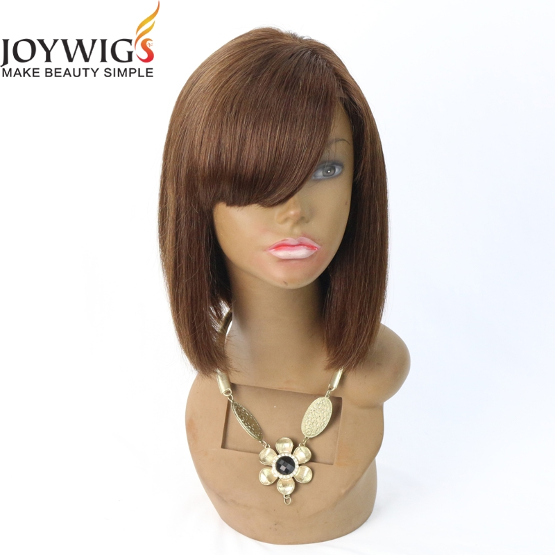 100 Real Indian Human Hair Medium Shoulder Silky Straight Regularity Bangs Short Bob Wigs For Black Women