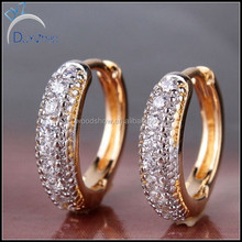 2014 Special Designs Earrings for Women 18K Gold Platinum Plated Hoop Huggies Earring with Chariming Stone