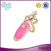 European and American fashion diamond alloy epoxy crown joint nail rings