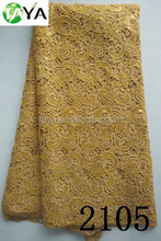 Gold african cord lace fabric with sequin