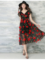New Arrival Fashion Design Party Dress Transparent Black Lace Red Flower Fashion Woman Dress