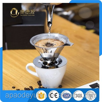 High quality hand drip stainless steel / paperless pour over coffee dripper / filter