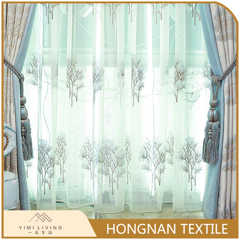 Good quality woven white embroidered 100 polyester curtains for living room