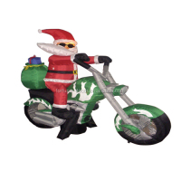 210cm/7ft long inflatable santa claus ride motorcycle for christmas decoration