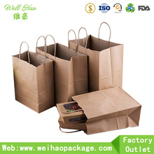 wholesale kraft paper bag with logo print and handle