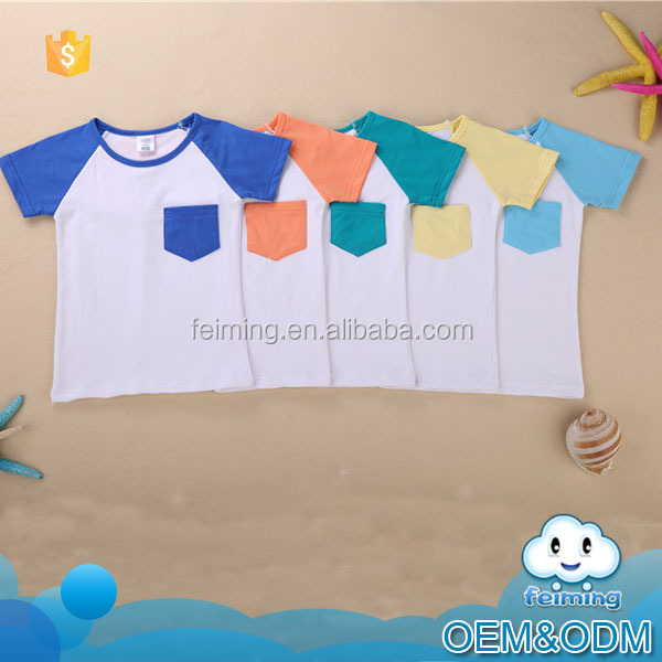 New baby clothes 2016 summer white plain high quality comfortable famous brand fancy pocket kids t-shirt wholeslae