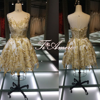 Puffy gold ball gown beaded sweetheart sleeveless low back fashion short dress cocktail prom dress for quinceaneras