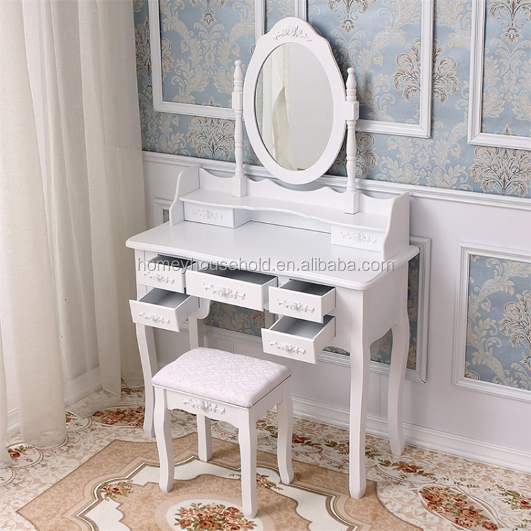French shabby chic bedroom furniture set white dressing table with swing mirror