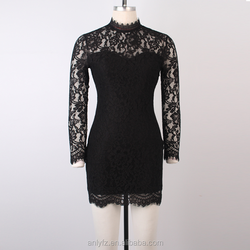 2016 latest design long sleeve high neck lace black evening dresses online shopping