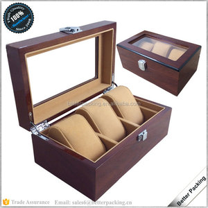 PW065 3 Slots Luxury High Grade Wooden Lacquer Packaging Watch Box