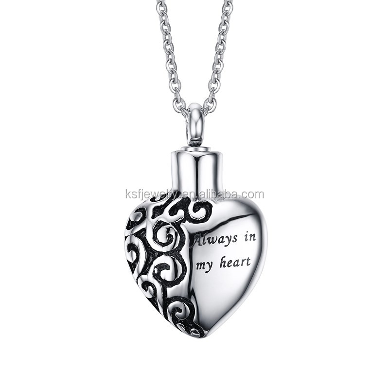Stainless Steel Silver Cremation Urn <strong>Pendant</strong> With Always In my Heart Letters Design China <strong>Pendant</strong> Necklace Wholesale