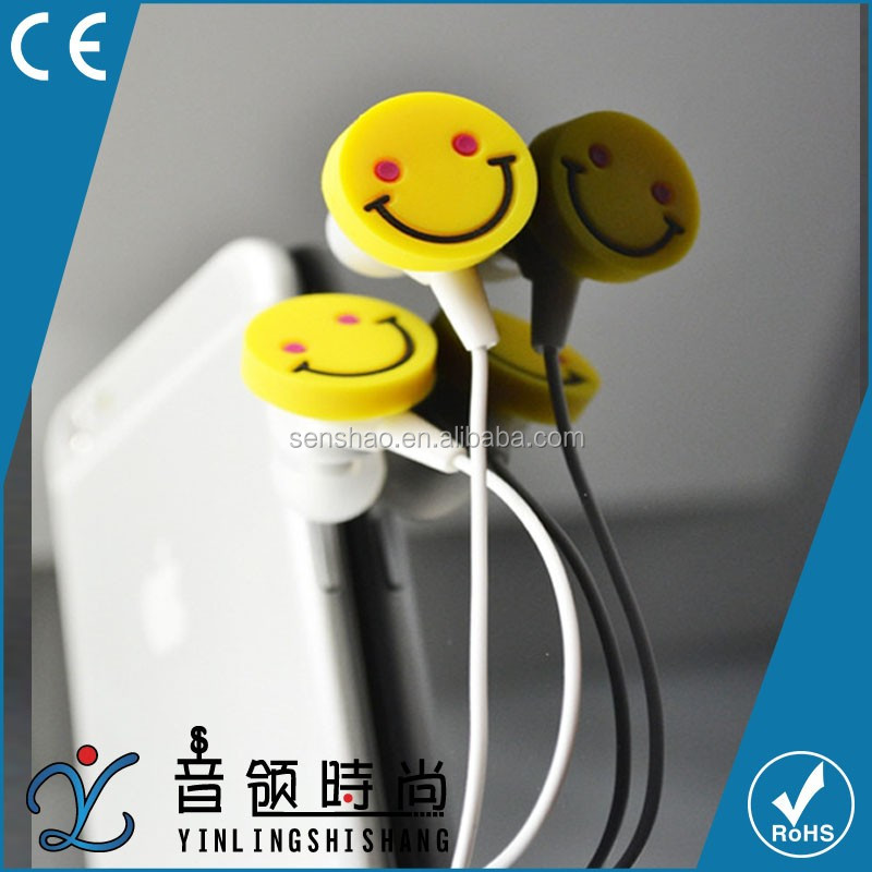 China high sound quality 3D cartoon smile face emoji pvc earphone for mp3 ,factory price lovely earbuds for chirldren
