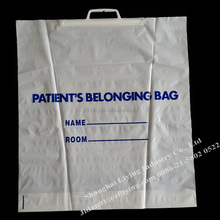 LDPE plastic belonging bag with plastic handle for patient,used in hosptital