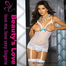 Wholesale top quality transparent white babydoll lingerie sexy women nighties plus size xl