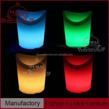 rechargeable LED light cooler PE beer ice bucket , plastic ice bucket