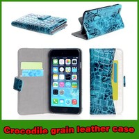 Luxury crocodile card slot wallet leather flip case for iphone 6