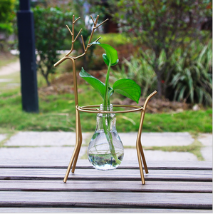 European-style creative iron deer frame green glass bottle hydroponic vase container living room flower decoration