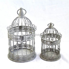 Vintage gray scroll round wire small bird cage