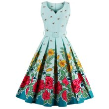 Walson Alibaba Latest Girl's Midi Floral Print Pin Up Dress