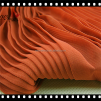 2016 100% polyester accordion pleats chiffon fabric/ tunic fabric